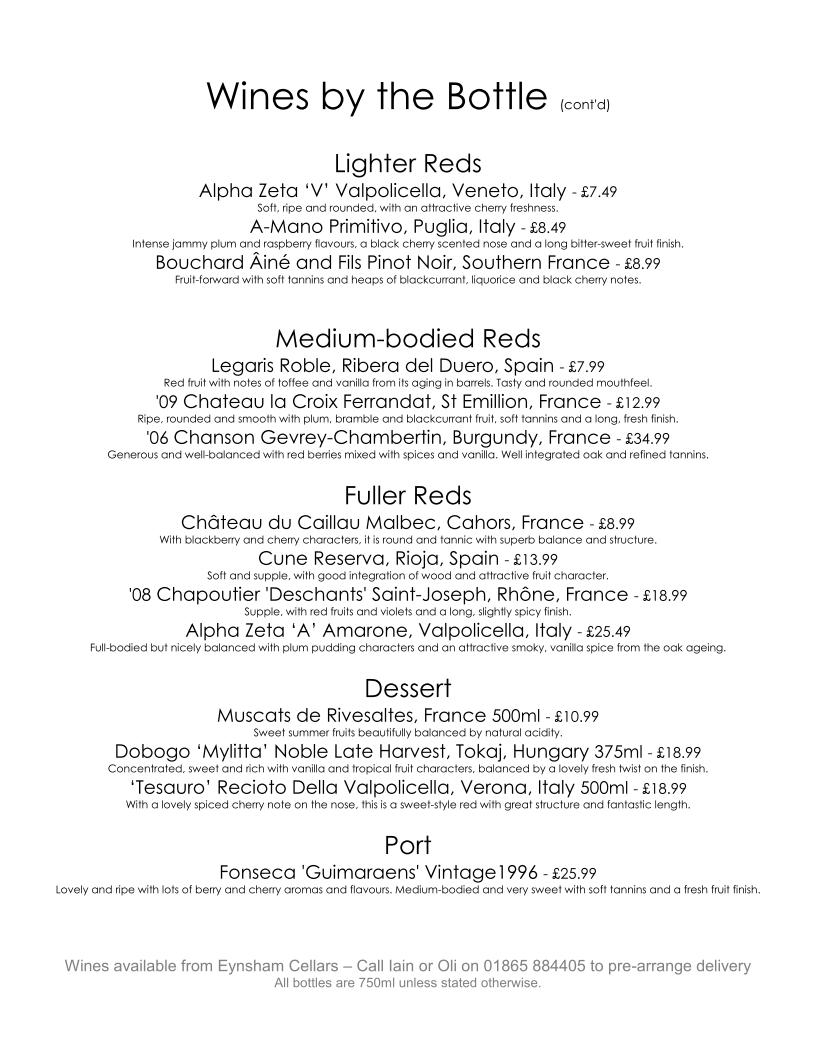 Suggested Wine List from Eynsham Cellars