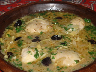 Chicken tagine with olives and preserved lemons